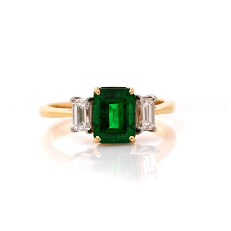 GIA Colombian Emerald Diamond Gold Engagement Ring 2