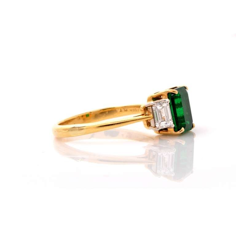 GIA Colombian Emerald Diamond Gold Engagement Ring 3