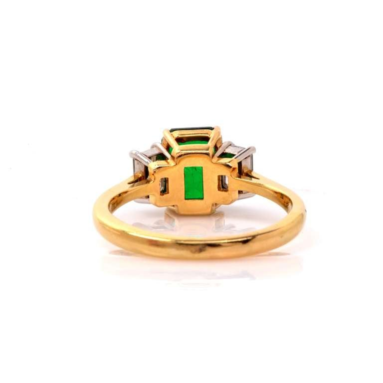 GIA Colombian Emerald Diamond Gold Engagement Ring 4