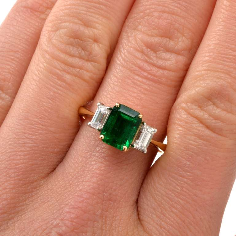 GIA Colombian Emerald Diamond Gold Engagement Ring 5