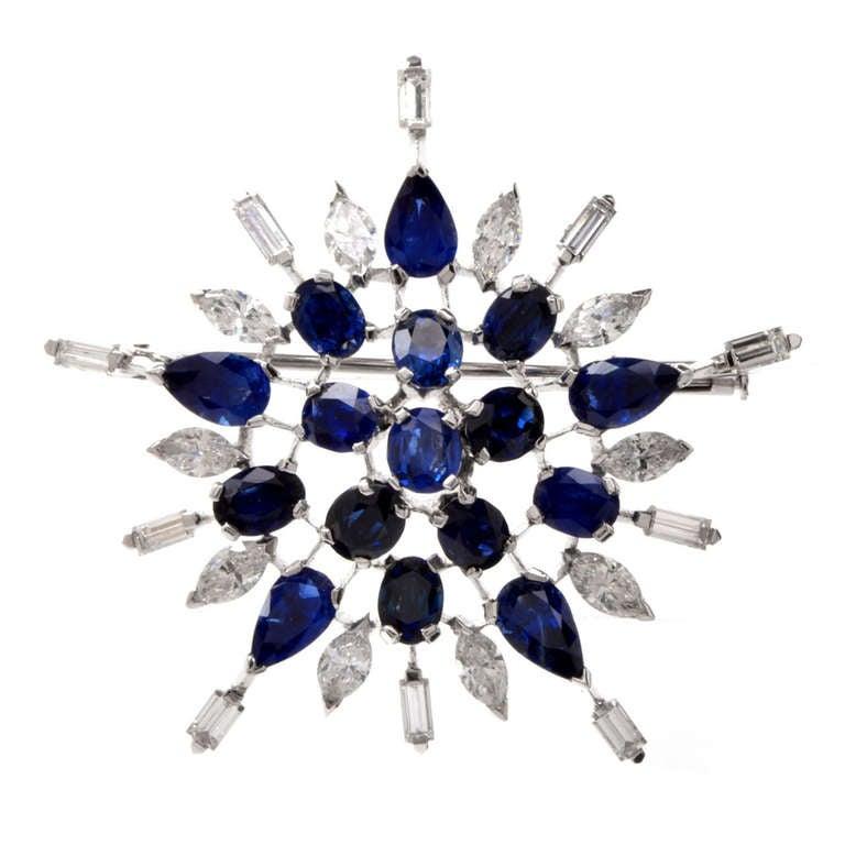 Diamond Sapphire Starburst Platinum Brooch Pin For Sale