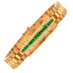 Emerald Diamond Gold Link Men's Bracelet