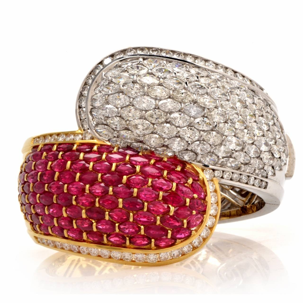 Cluster Ruby Diamond Two Color Gold Bangle Cuff Bracelet In Excellent Condition For Sale In Miami, FL