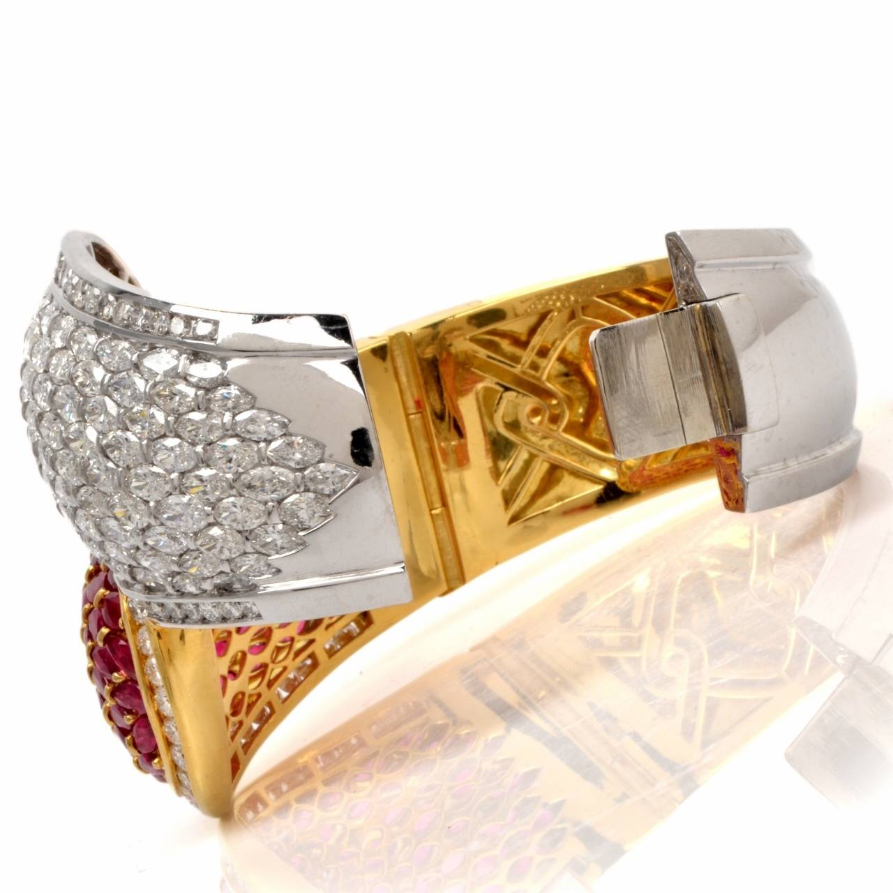 Cluster Ruby Diamond Two Color Gold Bangle Cuff Bracelet For Sale 3
