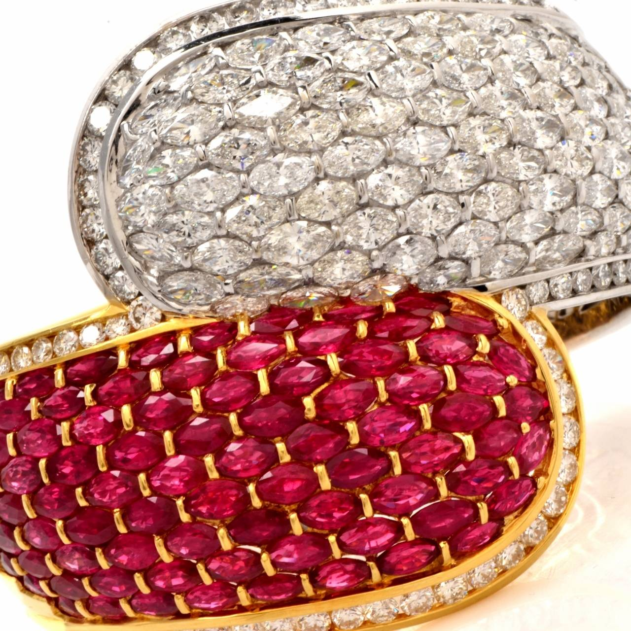 Women's Cluster Ruby Diamond Two Color Gold Bangle Cuff Bracelet For Sale