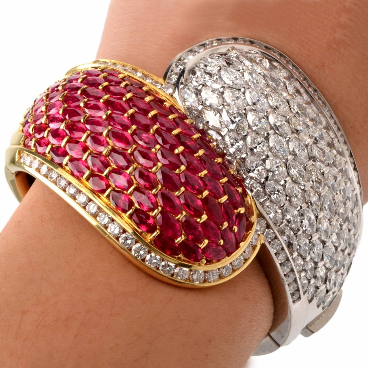 Cluster Ruby Diamond Two Color Gold Bangle Cuff Bracelet For Sale 2
