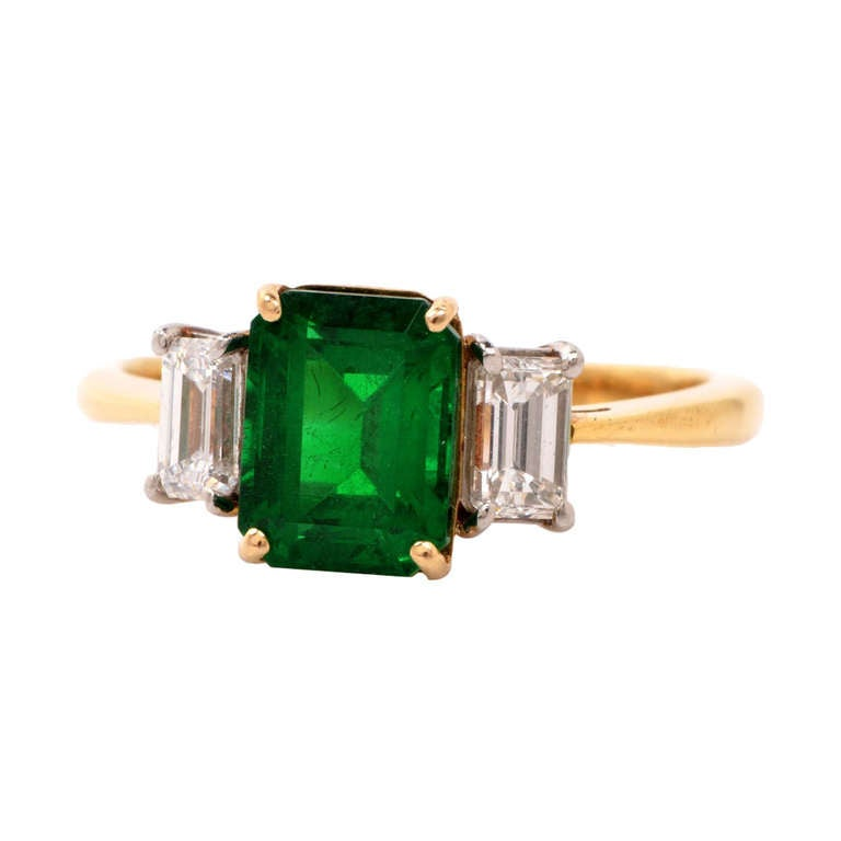 GIA Colombian Emerald Diamond Gold Engagement Ring 1