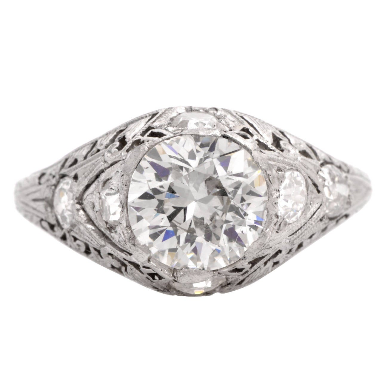 Art Deco 2 77 Carat Diamond Platinum Filigree Engagement Ring at 1stdibs