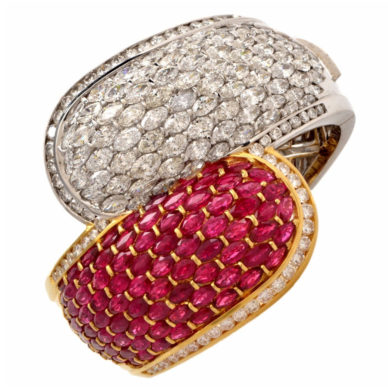 Cluster Ruby Diamond Two Color Gold Bangle Cuff Bracelet For Sale