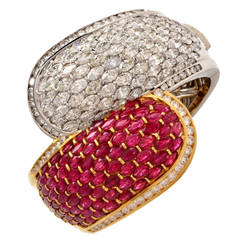 Cluster Ruby Diamond Two Color Gold Bangle Cuff Bracelet