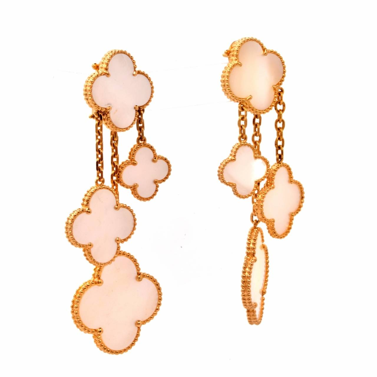 Van Cleef & Arpels VCA Alhambra Collection Mother-of-Pearl Gold Earrings 2