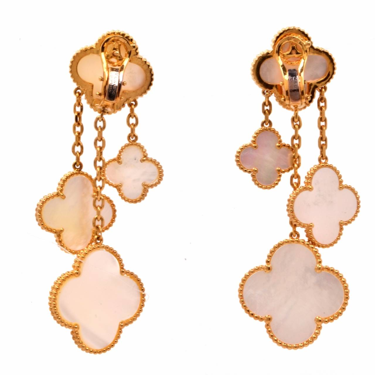 Van Cleef & Arpels VCA Alhambra Collection Mother-of-Pearl Gold Earrings 3