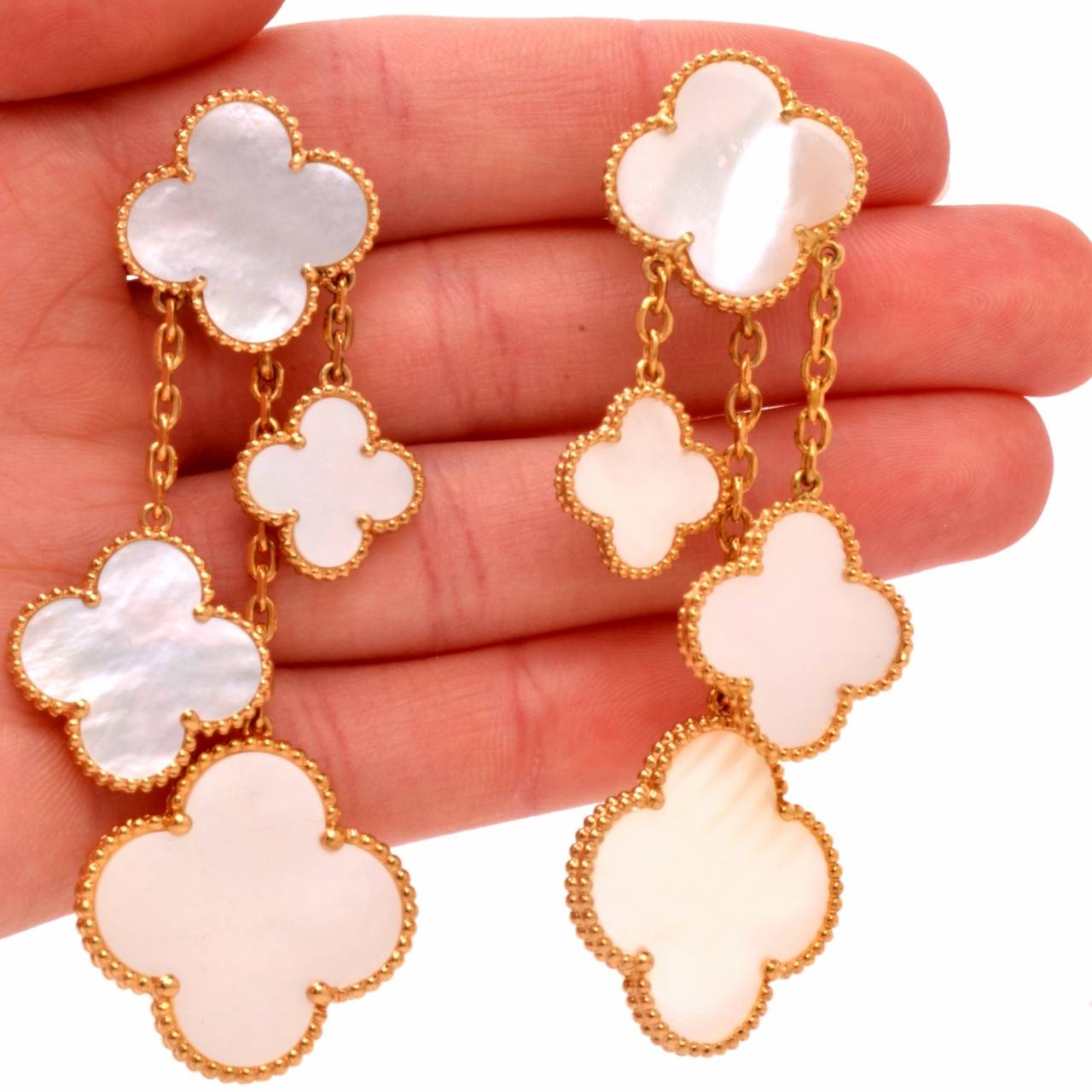 Van Cleef & Arpels VCA Alhambra Collection Mother-of-Pearl Gold Earrings 5