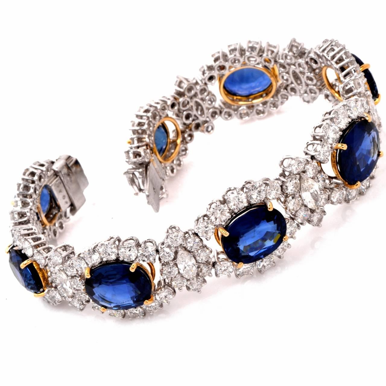 Women's 1980s Lady Diana Sapphire Diamond Platinum & Gold Bracelet For Sale