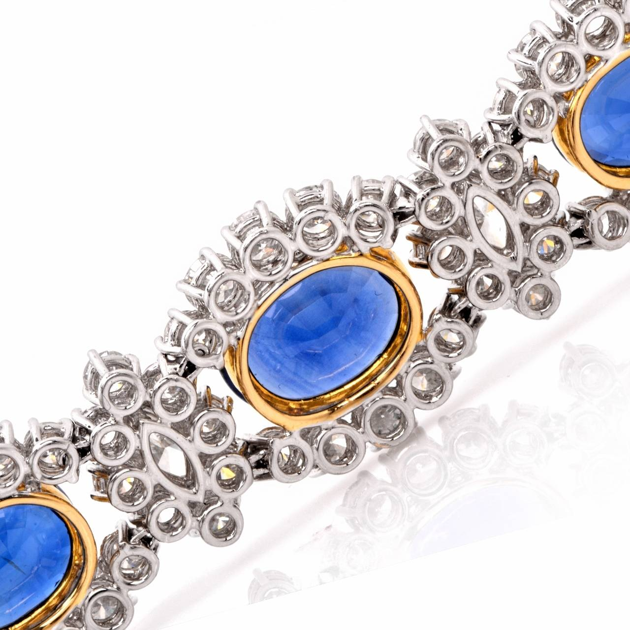 1980s Lady Diana Sapphire Diamond Platinum & Gold Bracelet For Sale 1