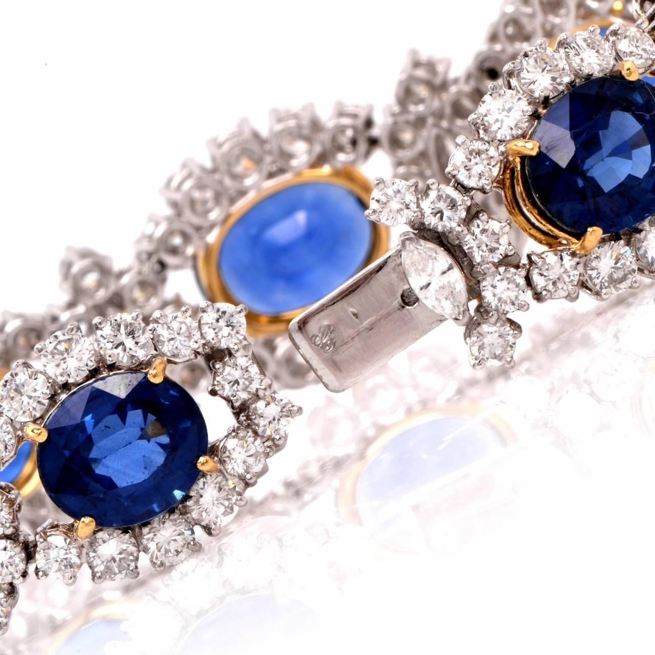 Oval Cut 1980s Lady Diana Sapphire Diamond Platinum & Gold Bracelet For Sale