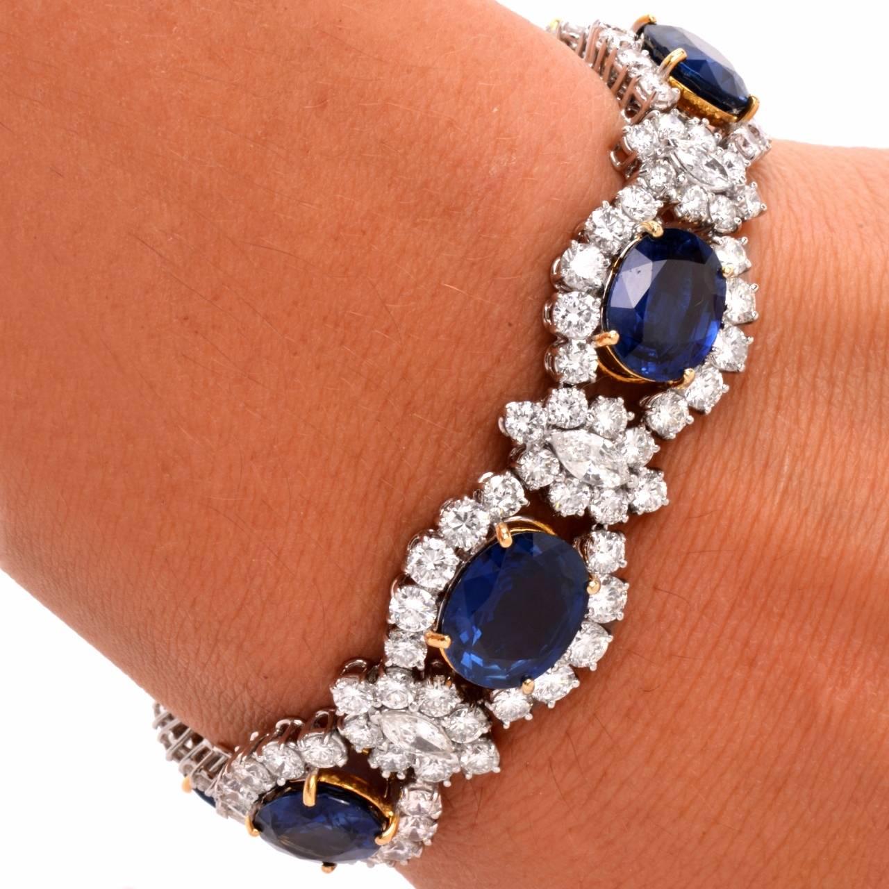 Art Deco 1980s Lady Diana Sapphire Diamond Platinum & Gold Bracelet For Sale