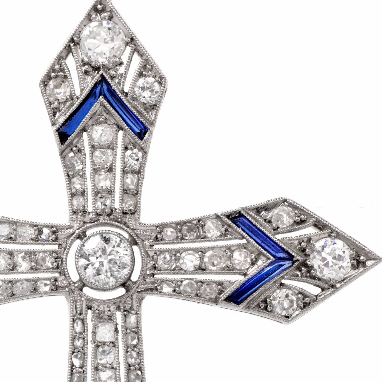 antique sapphire platinum cross pendant necklace