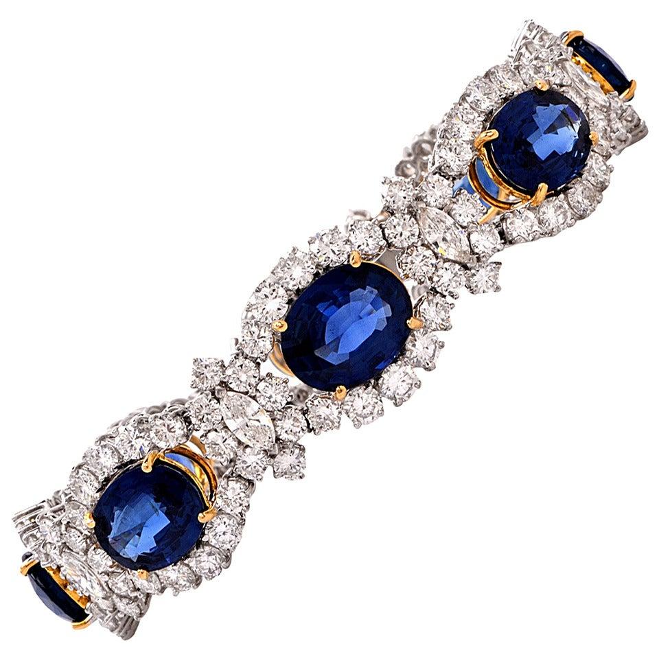 1980s Sapphire Diamond Gold Platinum Bracelet