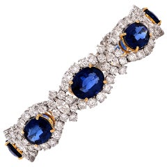 1980s Lady Diana Sapphire Diamond Platinum & Gold Bracelet