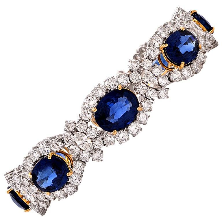 1980s Lady Diana Sapphire Diamond Platinum & Gold Bracelet For Sale