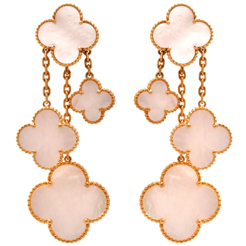 Van Cleef & Arpels VCA Alhambra Collection Mother-of-Pearl Gold Earrings 1