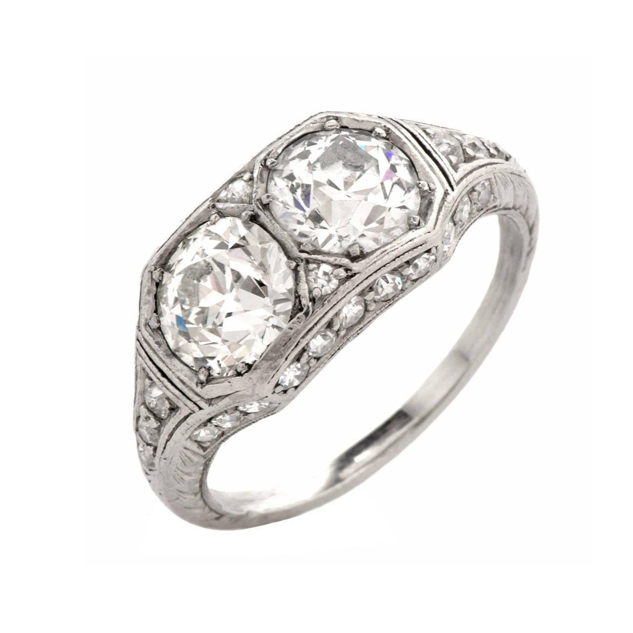 antique deco platinum engagement ring