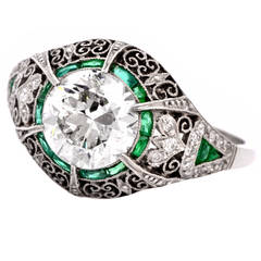 Antique European Emerald Diamond Platinum Filigree Engagement Ring