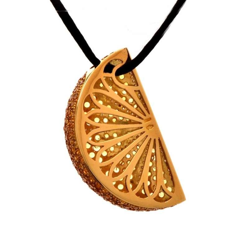 Topaz Diamond Gold Orange Slice Pendant Necklace For Sale ...