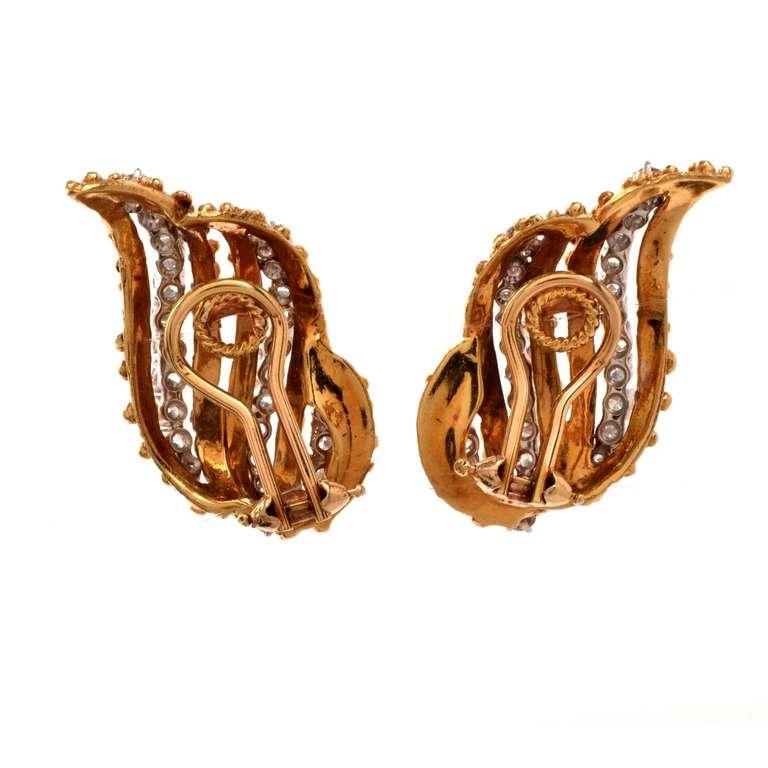 gold clip back earrings at 1stdibs