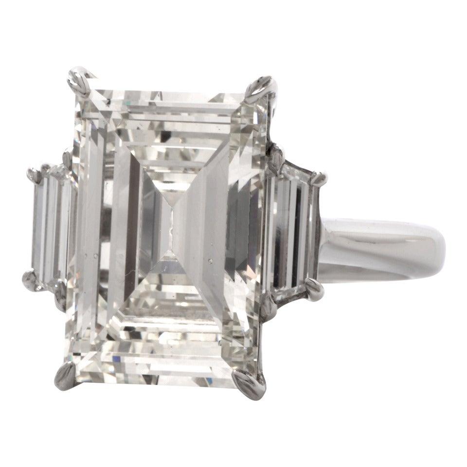 804 Carat Emerald Cut Diamond Platinum Engagement Ring 1