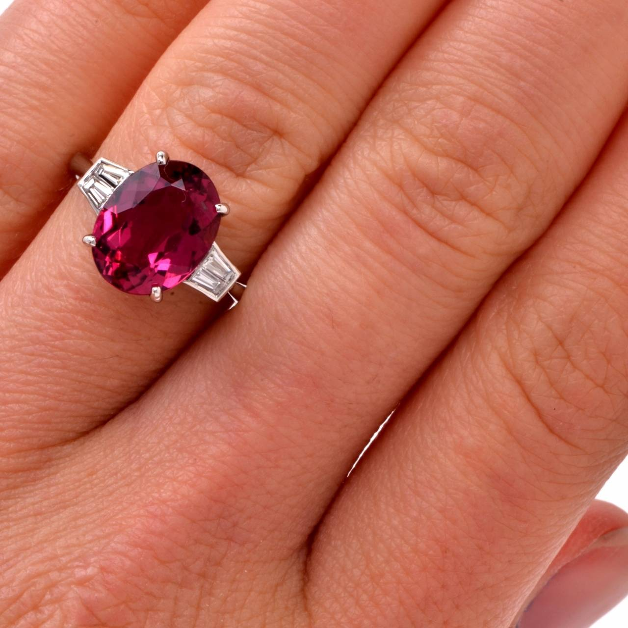 Pink Tourmaline Diamond Gold Three Stone Engagement Ring 5