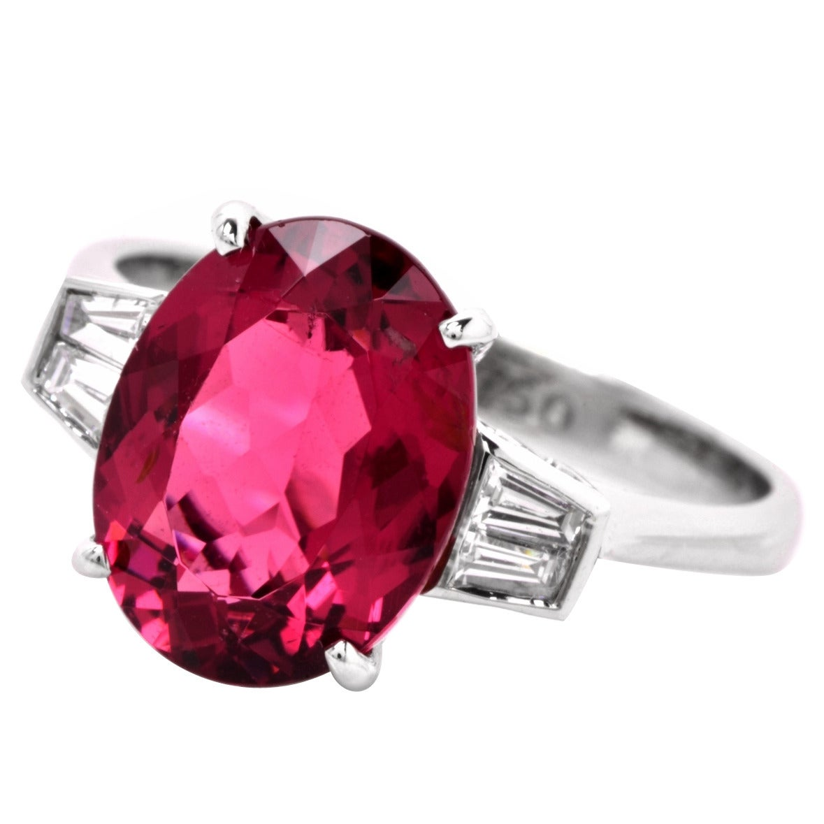 Pink Tourmaline Diamond Gold Three Stone Engagement Ring 1