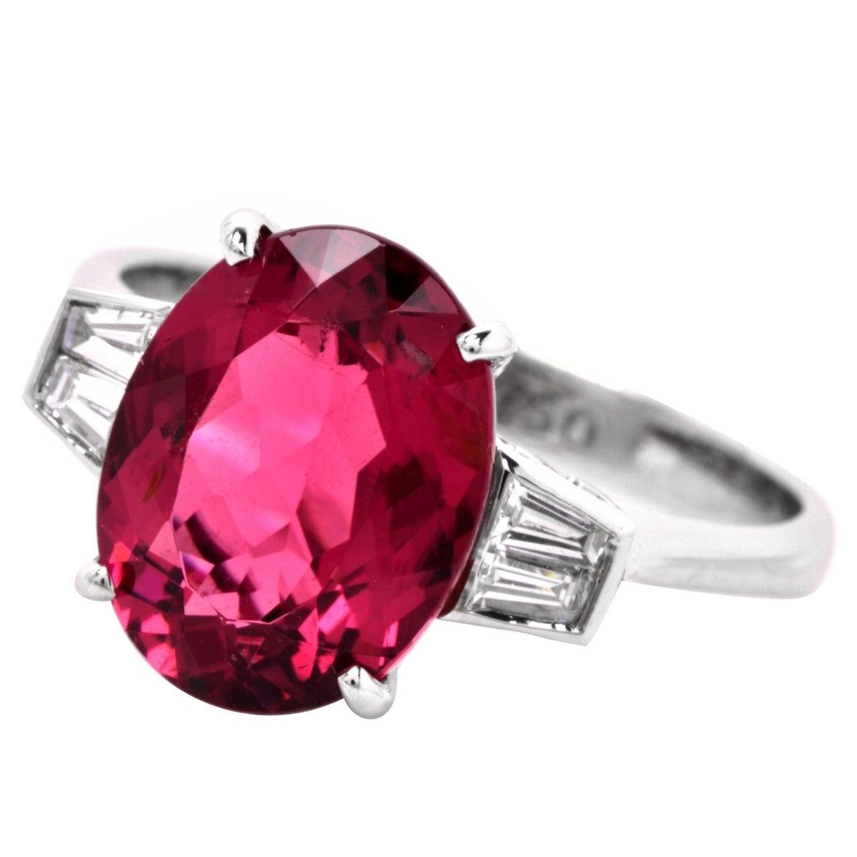 Pink Tourmaline Diamond Gold Three Stone Engagement Ring For Sale