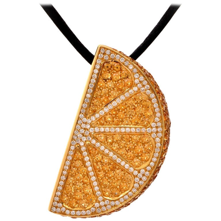 topaz gold orange slice pendant necklace for sale