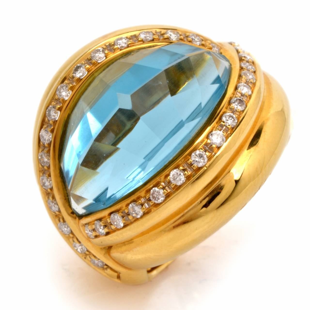 Dome Shaped Bands: Italian Topaz Diamond Gold Dome Shaped Cocktail Ring At