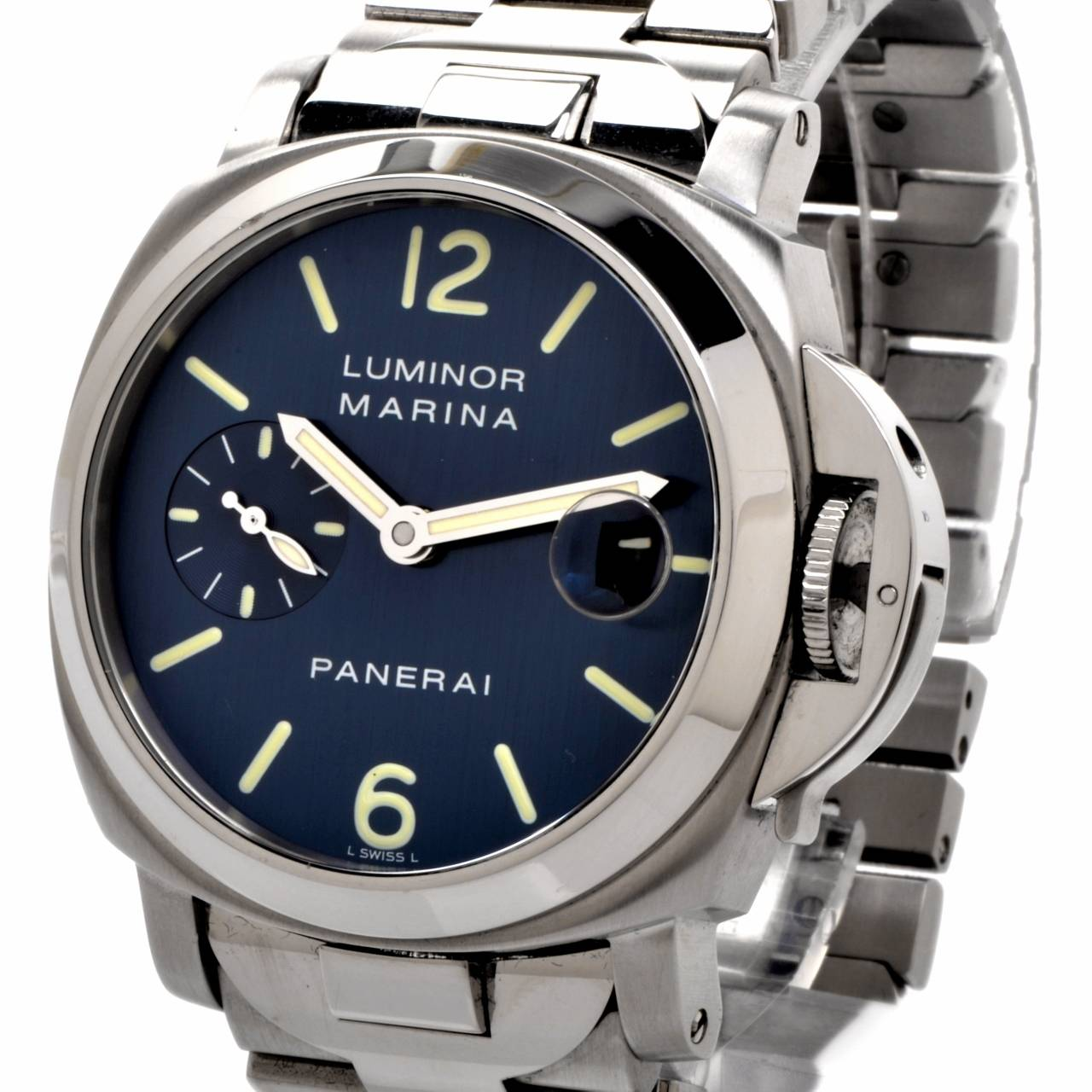 Panerai Stainless Steel Luminor Marina Automatic 40mm Blue Dial Wristwatch  For Sale 3 a45f8283254d