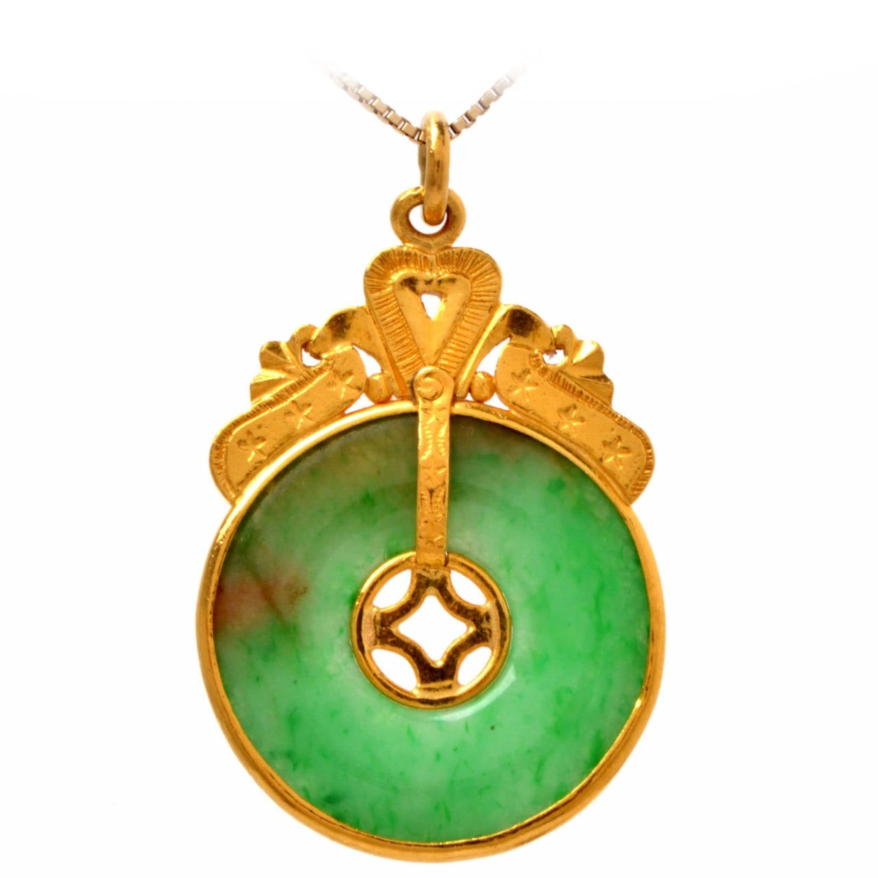 Gia certified jadeite jade gold chinese pendant at 1stdibs for Pictures of jade jewelry