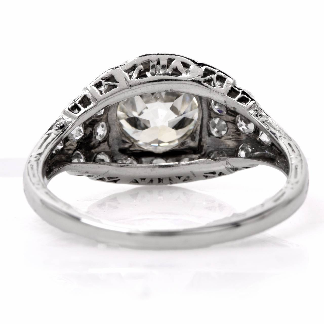 Art Deco Diamond Platinum Filigree Engagement Ring at 1stdibs