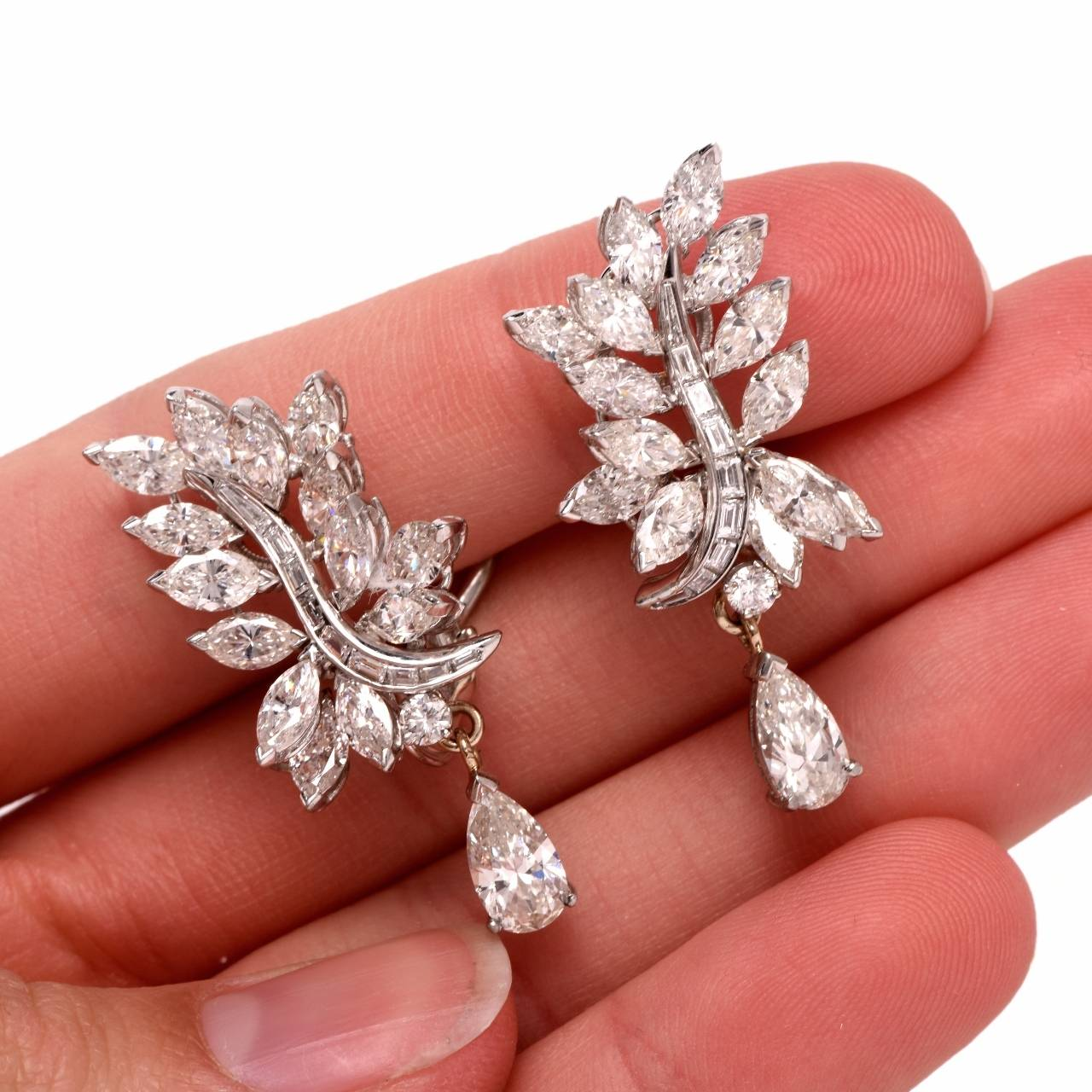baguette diamonds earrings stunning pear and baguette cluster earrings at 1stdibs 1967