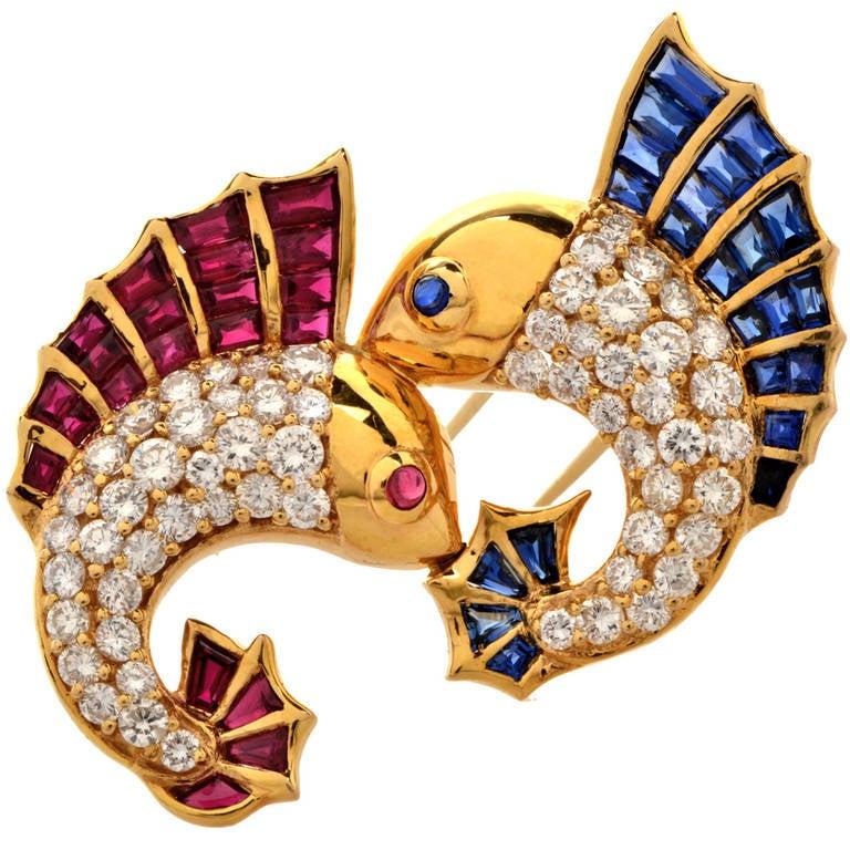1970s Diamond Ruby Sapphire Marlin Pin