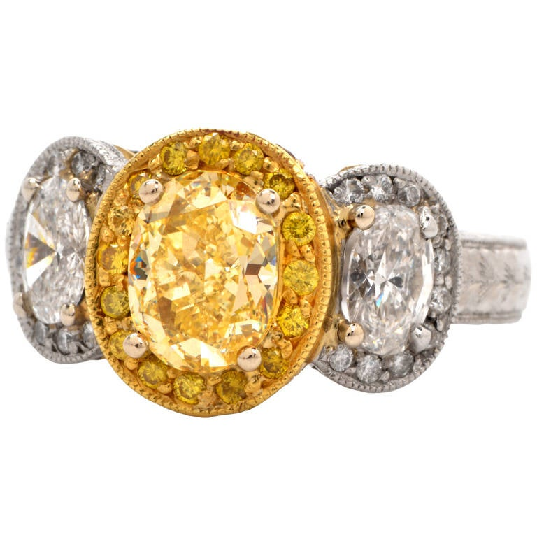 canary platinum gold engagement ring at 1stdibs