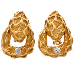 Diamond Gold Nugget Clip on Earrings