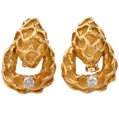 Diamond Gold Nugget Clip on Earrings