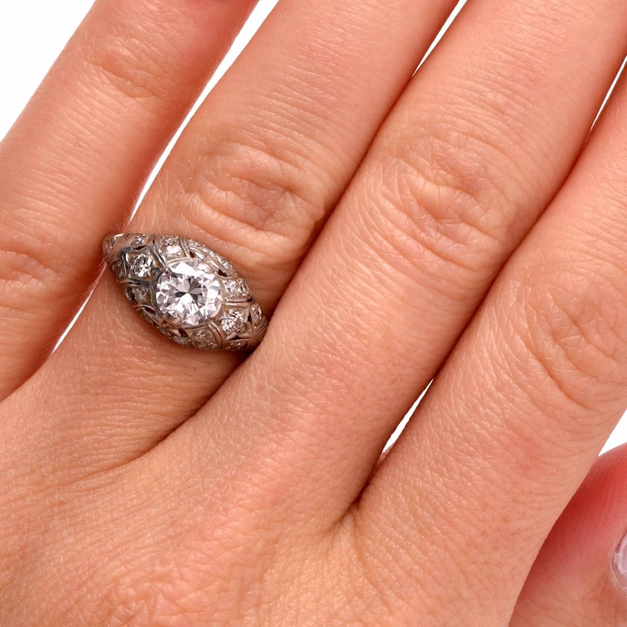 Antique Diamond Filigree Engagement Ring