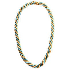 Retro Turquoise Rope Gold Chain Necklace