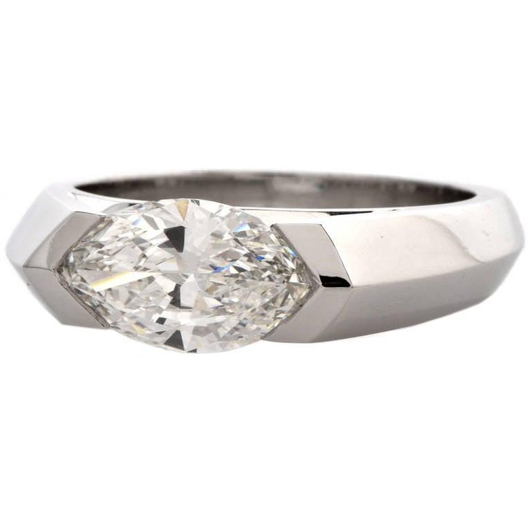 Marquise Diamond Platinum Ring at 1stdibs