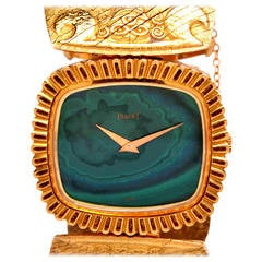 Piaget Lady's Yellow Gold Bracelet Watch with Malachite Dial