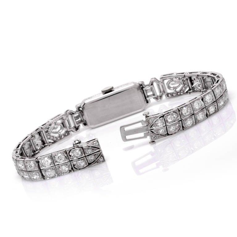 Mathey Tissot Ladies Diamond Platinum Bracelet Wristwatch 3