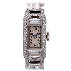 Mathey Tissot Lady's Platinum Diamond Bracelet Wristwatch
